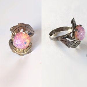 Vintage J SOTELO Sterling 925 Taxco Foil Opal Ring